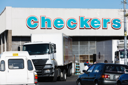 delivery truck outside Checkers